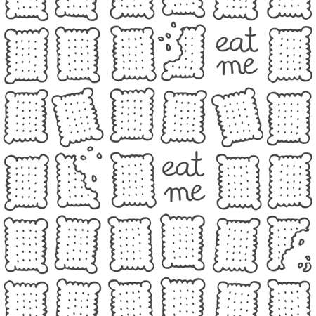 o'clock: eat me square cookies monochrome sweet seamless pattern on white background