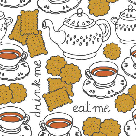 'eat me drink me' tea and cookies sweet seamless pattern on white Vector