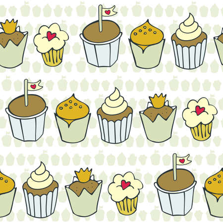 so many decorated cupcakes in rows on light patterned background sweet colorful seamless pattern Stock Vector - 16950691