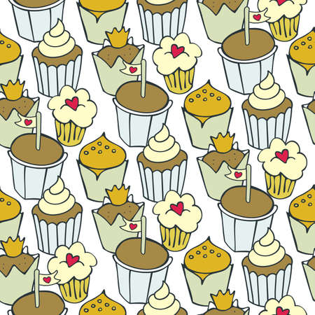 so many decorated cupcakes colorful sweet seamless pattern on white background Vector