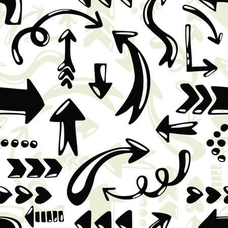repeatable texture: estilo blanco y negro de dibujos animados sin patr�n flecha sobre fondo blanco