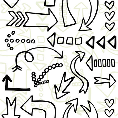 repeatable texture: monochrome border sketchy style arrow seamless pattern on white background