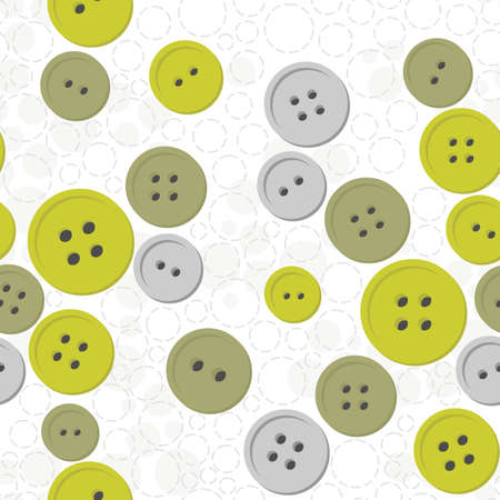 green gray button mess on white dotted background seamless pattern Vector