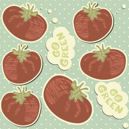 go green retro tomatoes on polka dots seamless pattern with blue background  Vector