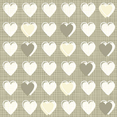 bordered hearts in rows brown beige white seamless pattern on dark background Stock Vector - 17075999