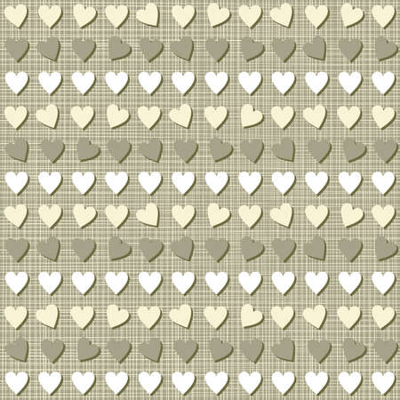 little hearts in rows brown beige white seamless pattern on dark background Stock Vector - 17076001