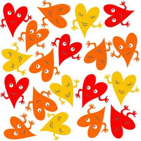 yellow orange red hearts with faces on light background seamless pattern Stock Vector - 17075996