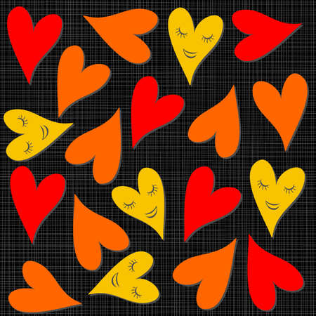 yellow orange red smiling hearts on dark background seamless pattern  Stock Vector - 17075998