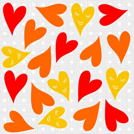 yellow orange red smiling hearts on polka dots light background seamless pattern  Vector