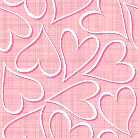 white and pink hearts seamless pattern valentines background  Illustration
