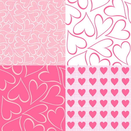 pink and white hearts seamless pattern valentines backgrounds set  Vector