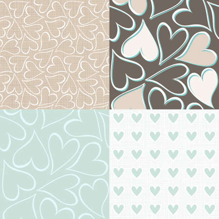 blue and brown hearts seamless pattern valentines backgrounds set
