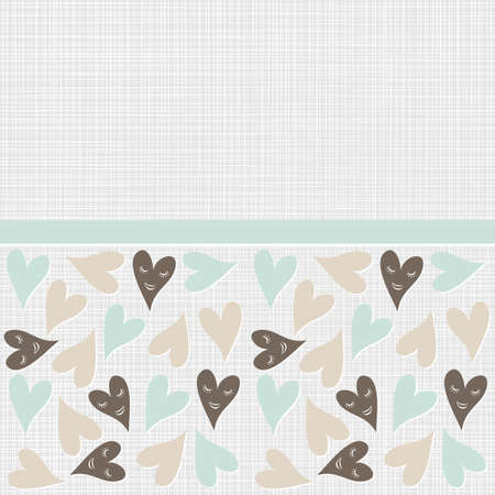 patterned:  lovely blue brown beige heart seamless pattern on light patterned background with a ribbon