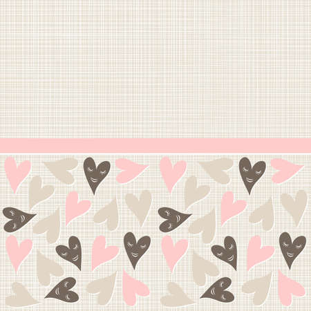 lovely pink brown beige heart seamless pattern on light patterned background with a ribbon Stock Vector - 17093475