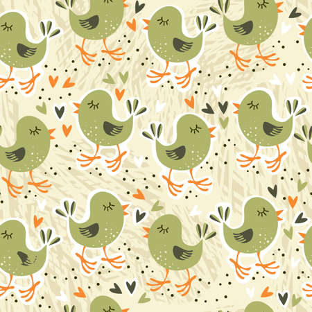 retro seamless pattern with little birds and hearts in beige, green, white and orange  Stock Vector - 17128701