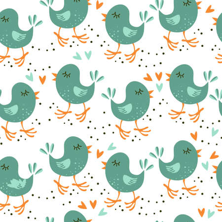 turquoise little birds with hearts on white background seamless pattern  Vector