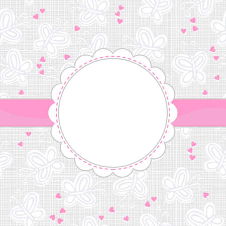 gray butterflies and pink hearts on light patterned background with white frame and pink ribbon Illustration