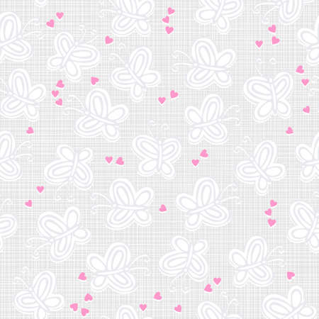 gray and white butterflies and pink hearts on light patterned background seamless pattern Stock Vector - 17132110