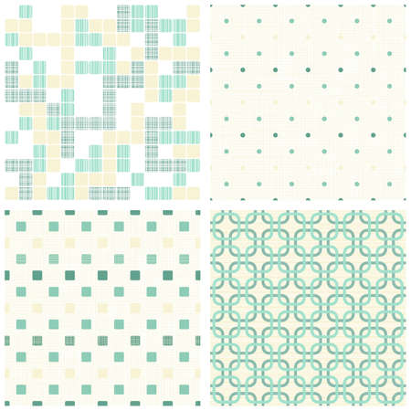 retro turquoise dots and squares seamless pattern scrapbook paper set  Vector