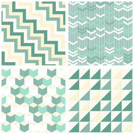 retro turquoise chevron cubes triangles arrows seamless pattern scrapbook paper set  Vector