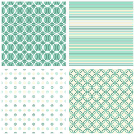 retro turquoise dots circles stripes seamless pattern scrapbook paper set  Vector
