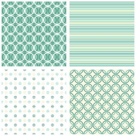 retro turquoise dots circles stripes seamless pattern scrapbook paper set Stock Vector - 17210451