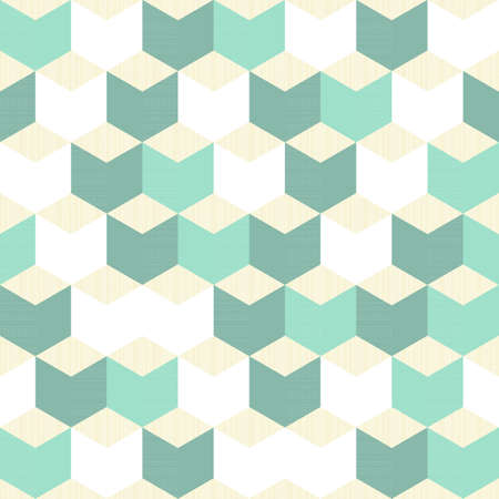 turquoise white beige regular cubes retro traditional geometric pattern  Vector