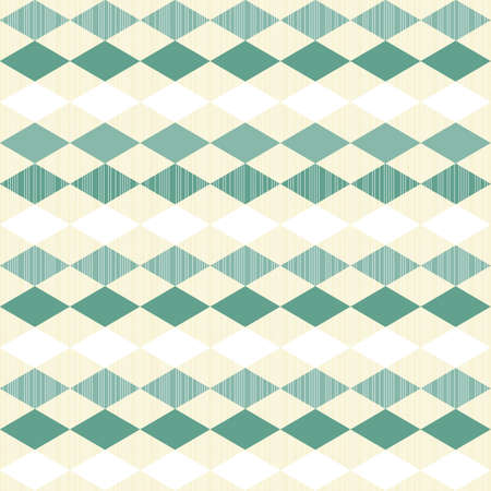 turquoise and white little diamonds horizontal in rows on beige seamless geometric pattern  Vector