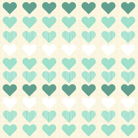 papel tapiz turquesa: peque�os corazones de color turquesa y blanco en filas en color beige patr�n rom�ntica perfecta Vectores