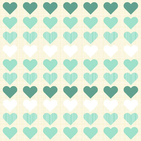 turquoise and white little hearts in rows on beige seamless romantic pattern