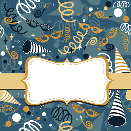 serpentines: blue navy yellow gold white party time background with Venetian masks confetti and serpentines with frame on gold ribbon celebration background