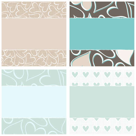 lovely blue beige brown hearts horizontal seamless pattern set torn on light background with place for your text