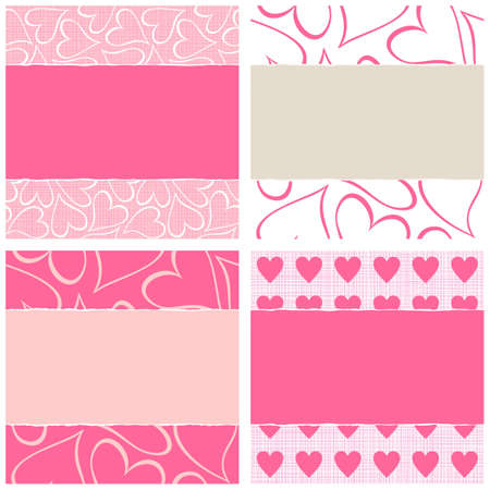 lovely pink beige white hearts horizontal seamless pattern set torn on light background with place for your text  Illustration