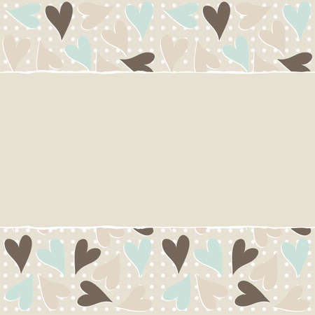 light brown: lovely blue beige brown hearts polka dots horizontal seamless pattern torn on light beige background with place for your text