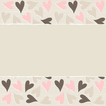 lovely pink beige brown hearts horizontal seamless pattern torn on light beige background with place for your text  Vector
