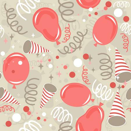red beige brown delicate party time background with balloons confetti and serpentines seamless pattern  Illustration