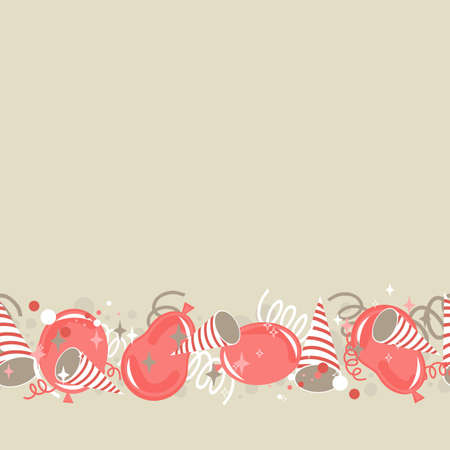 red beige brown delicate party time background with balloons confetti and serpentines seamless pattern  Vector