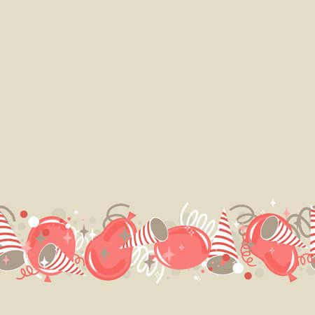 party time: rouge beige brun d�licat fond f�te avec des confettis et des serpentins ballons seamless pattern Illustration
