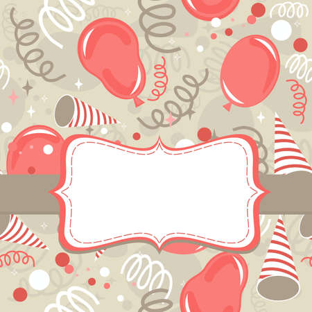 serpentines: red beige brown delicate party time background with balloons confetti and serpentines seamless pattern  Illustration