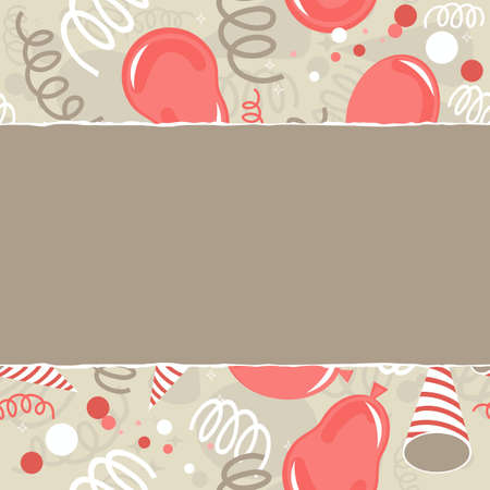 serpentines: red brown beige white party time background with balloons confetti and serpentines horizontal seamless pattern torn with place for your text