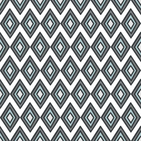retro gray blue diamonds abstract geometric seamless pattern on white background Vector