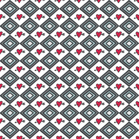 retro gray blue horizontal diamonds with red pierced hearts abstract geometric seamless pattern on white background Stock Vector - 17329867