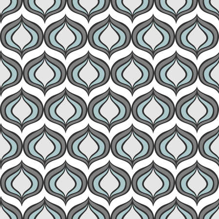 retro gray blue onion shaped elements abstract geometric seamless pattern on white background Stock Vector - 17329378