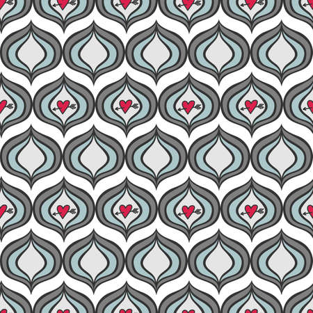 retro gray blue onion shaped elements with red pierced hearts abstract geometric seamless pattern on white background Vector