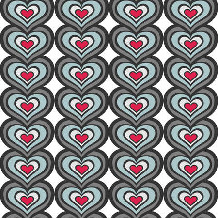 retro gray blue red vertical rows of hearts abstract geometric seamless pattern on white background Vector
