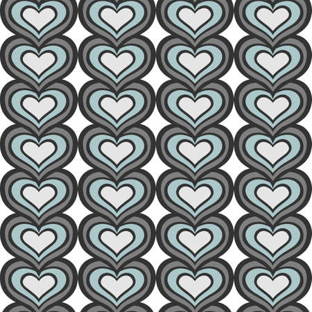 retro gray blue vertical rows of hearts abstract geometric seamless pattern on white background Stock Vector - 17329865