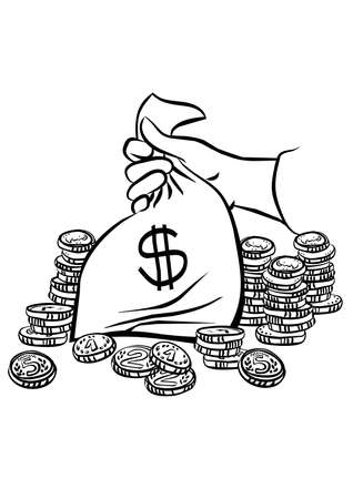 hand holding money bag: hand holding money bag with lots of coins around monochrome black and white business finance illustration  Illustration