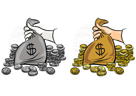 hand holding money bag: caucasian hand holding money bag with lots of gold coins around monochrome and colorful business finance illustration