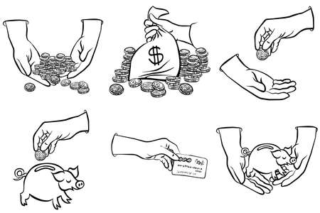 hands and money monochrome black and white business finance illustration set of six drawings  Vector