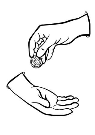 change hands and coin monochrome black and white business finance illustration